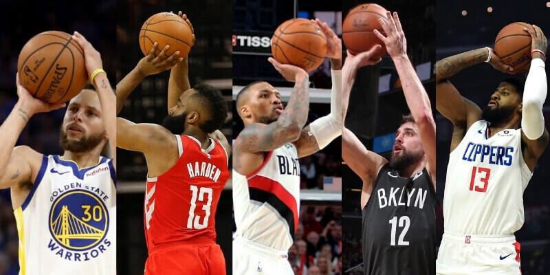 Los 5 mejores tiradores de tres puntos de la NBA (jugadores activos actuales)